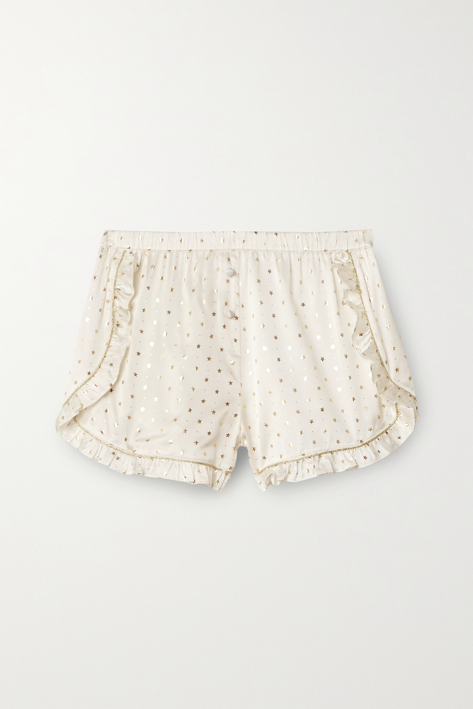 MORGAN LANE Esti ruffled metallic-trimmed printed silk-blend satin pajama shorts