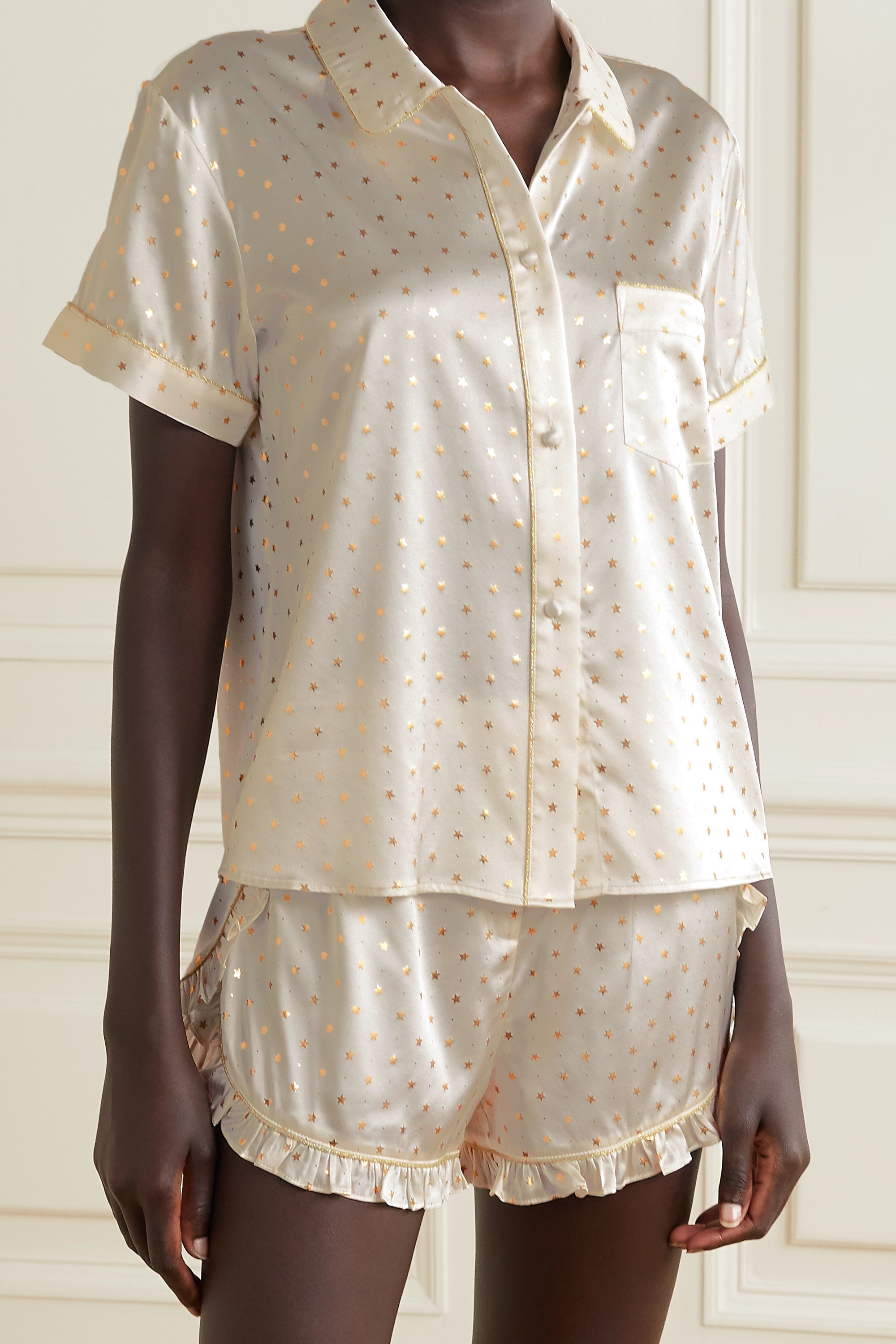 MORGAN LANE Tami metallic-trimmed printed silk-blend satin pajama shirt