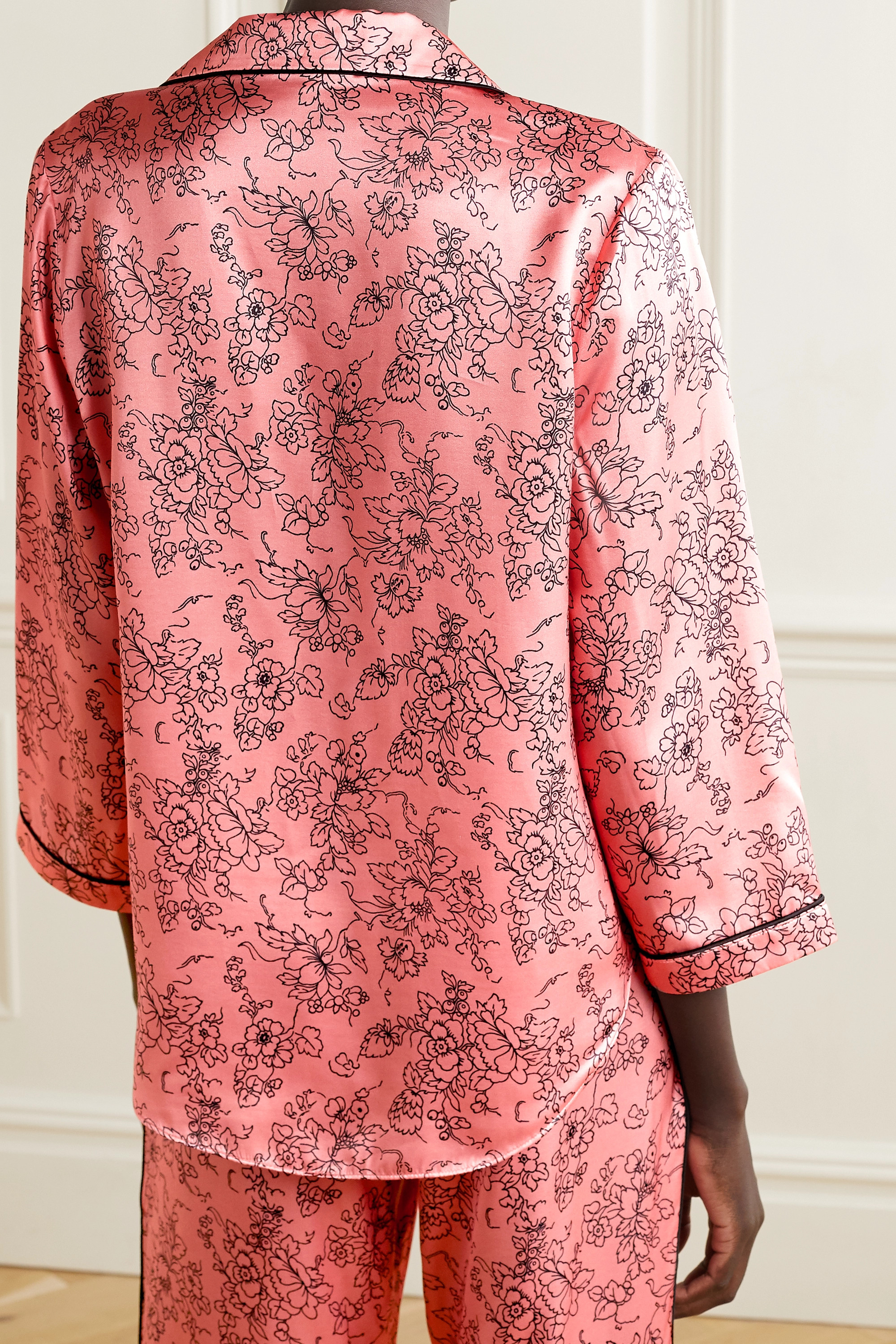 MORGAN LANE Kinsley piped floral-print satin pajama top