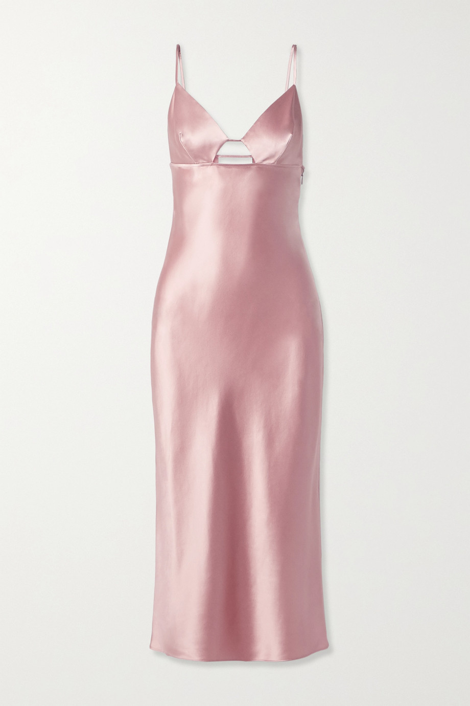 FLEUR DU MAL Cutout silk-satin midi dress