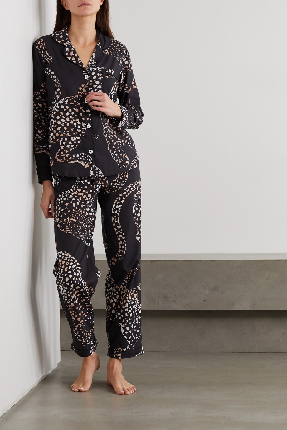 DESMOND & DEMPSEY Jag animal-print organic cotton pajama set