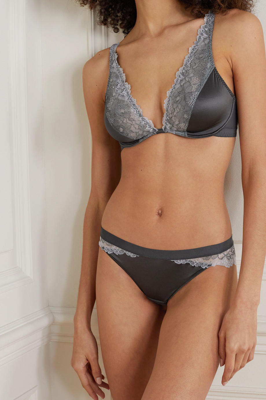 MAISON LEJABY Shade satin-jersey, stretch-mesh and lace underwired soft-cup bra
