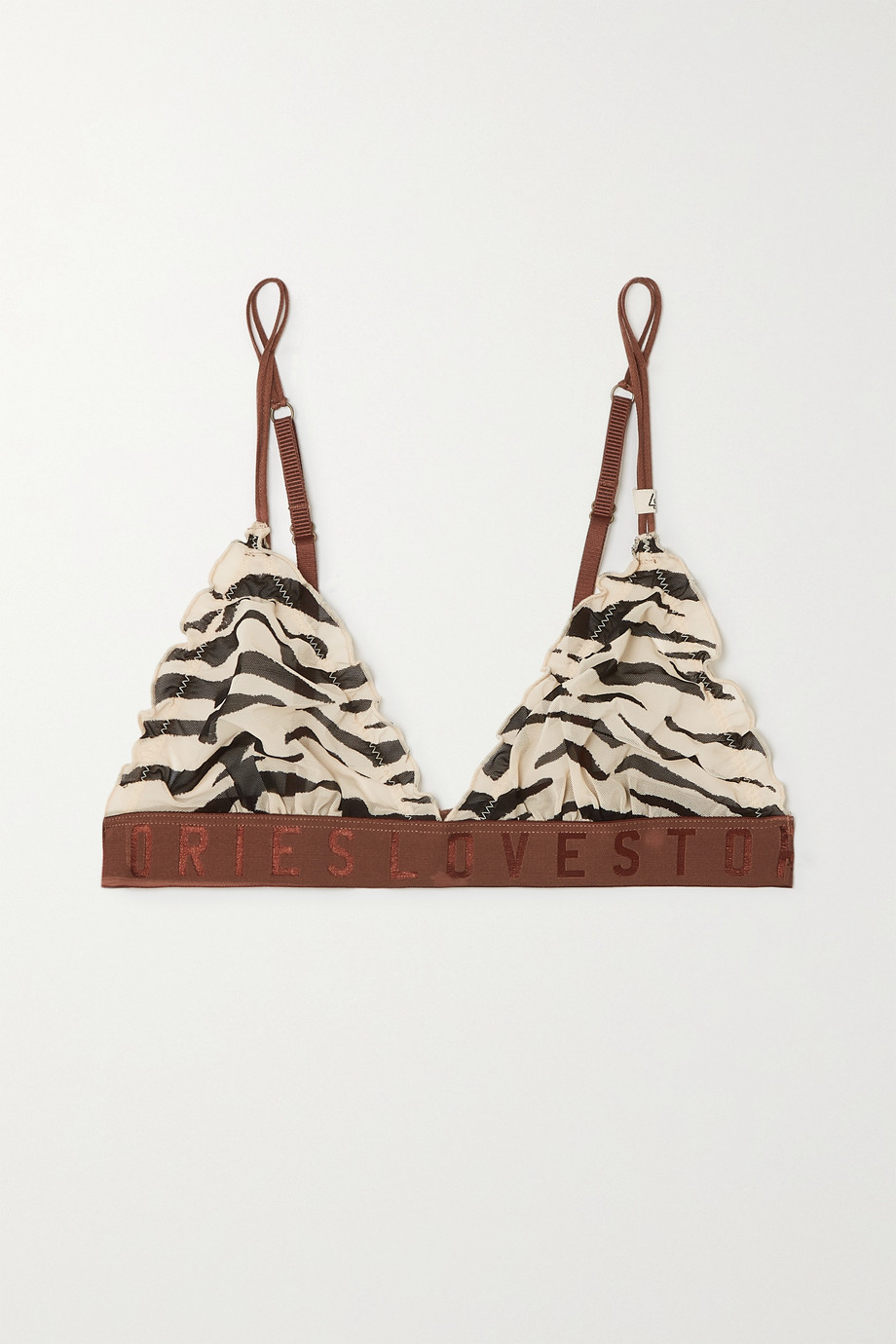 LOVE STORIES Reggipetto ruffled zebra-print stretch-tulle soft-cup triangle bra
