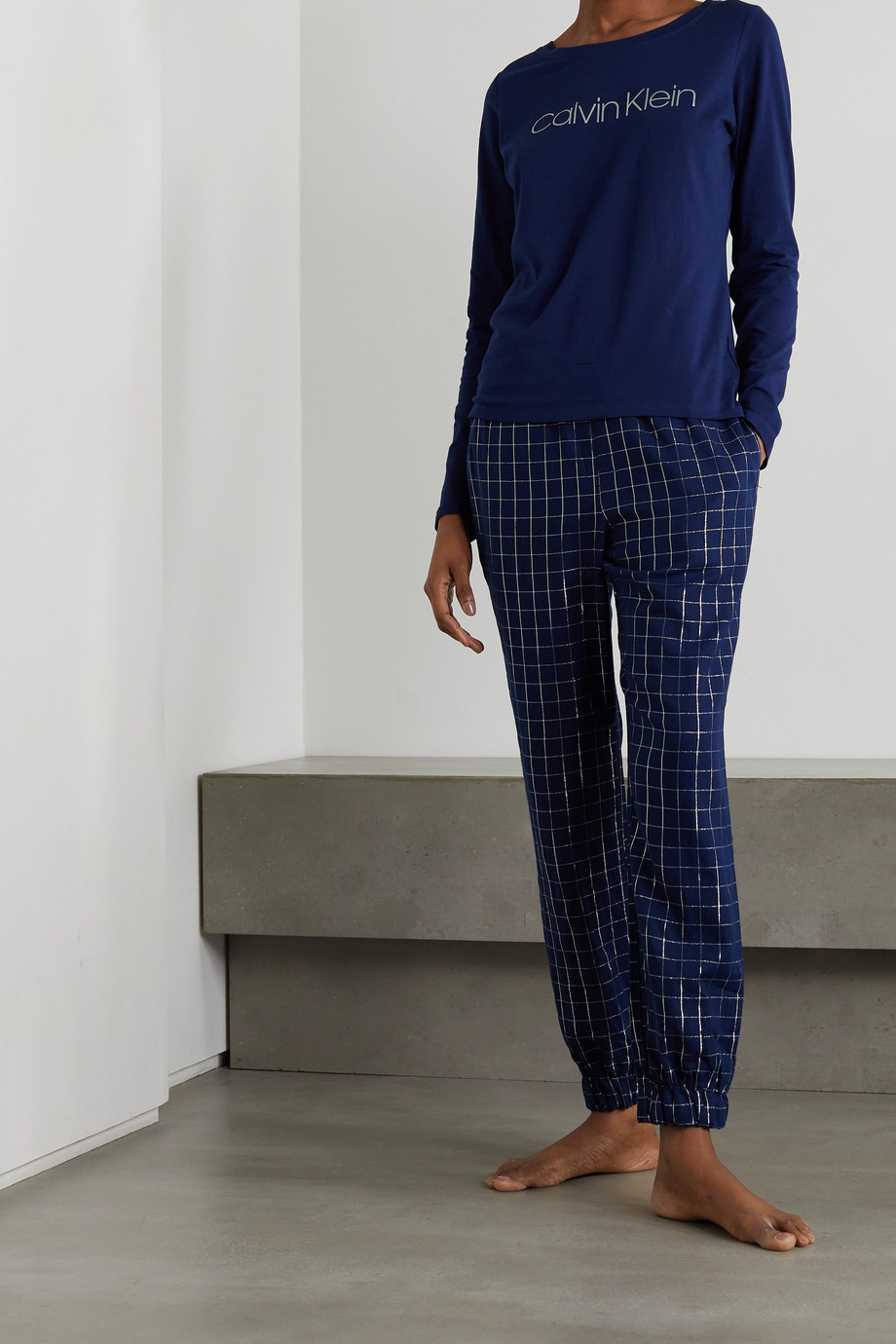 CALVIN KLEIN UNDERWEAR Printed checked cotton-blend flannel pajama set