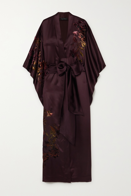 Burgundy Belted Appliqued Embroidered Silk Satin Robe Carine Gilson Net A Porter