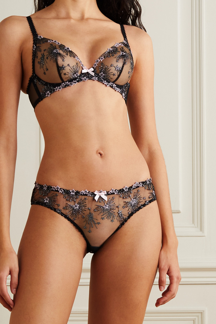 AGENT PROVOCATEUR Kaylie metallic embroidered tulle underwired soft-cup bra