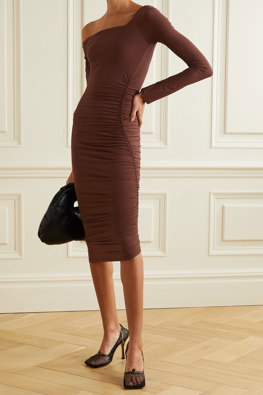 ALIX NYC Chambers one-shoulder ruched stretch-jersey midi dress