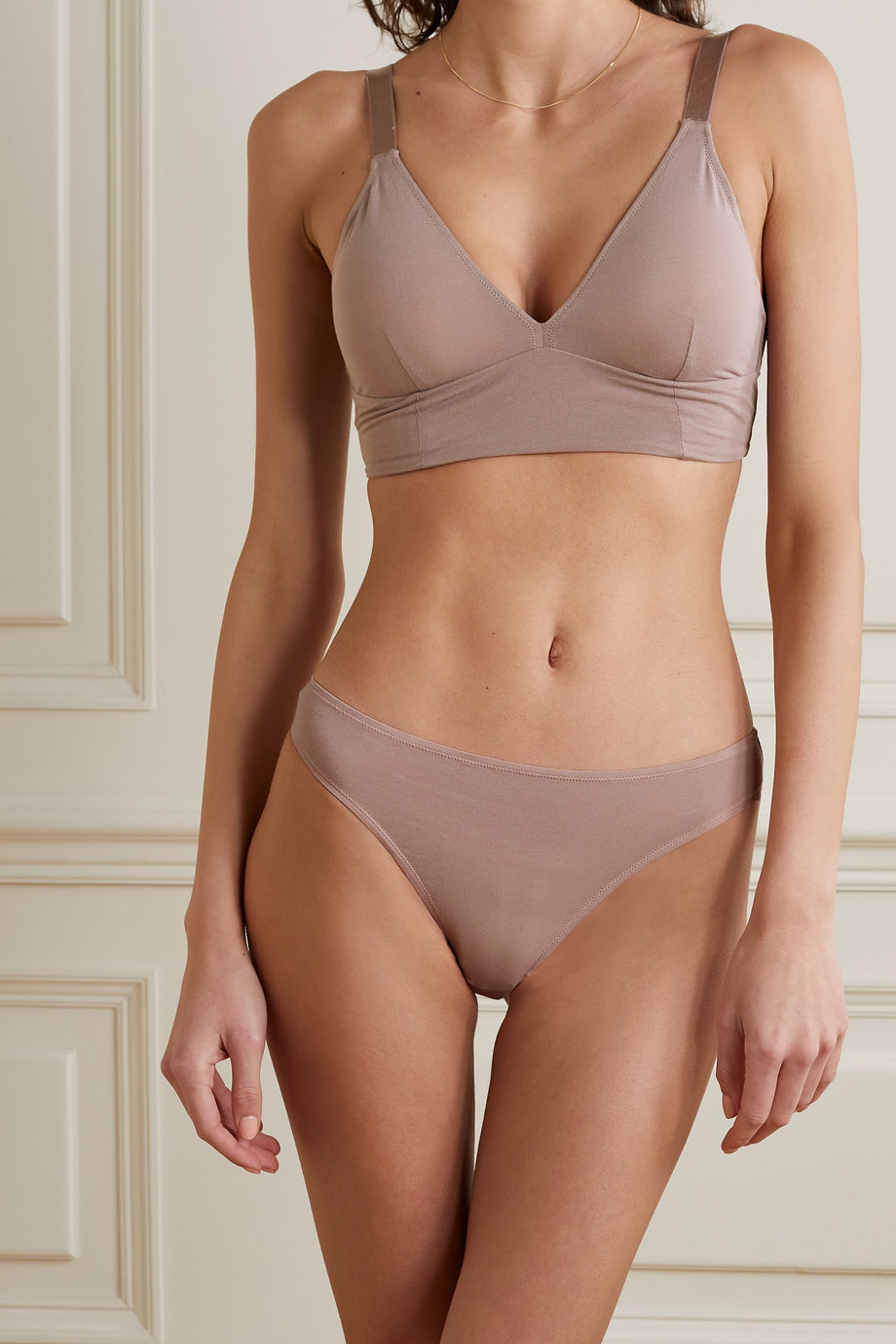 SKIN + NET SUSTAIN Galit stretch organic Pima cotton-jersey triangle bra