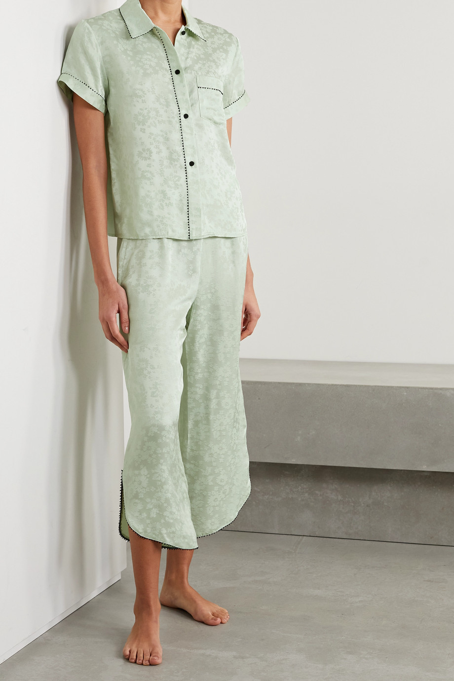 MORGAN LANE Tami picot-trimmed satin-jacquard pajama shirt