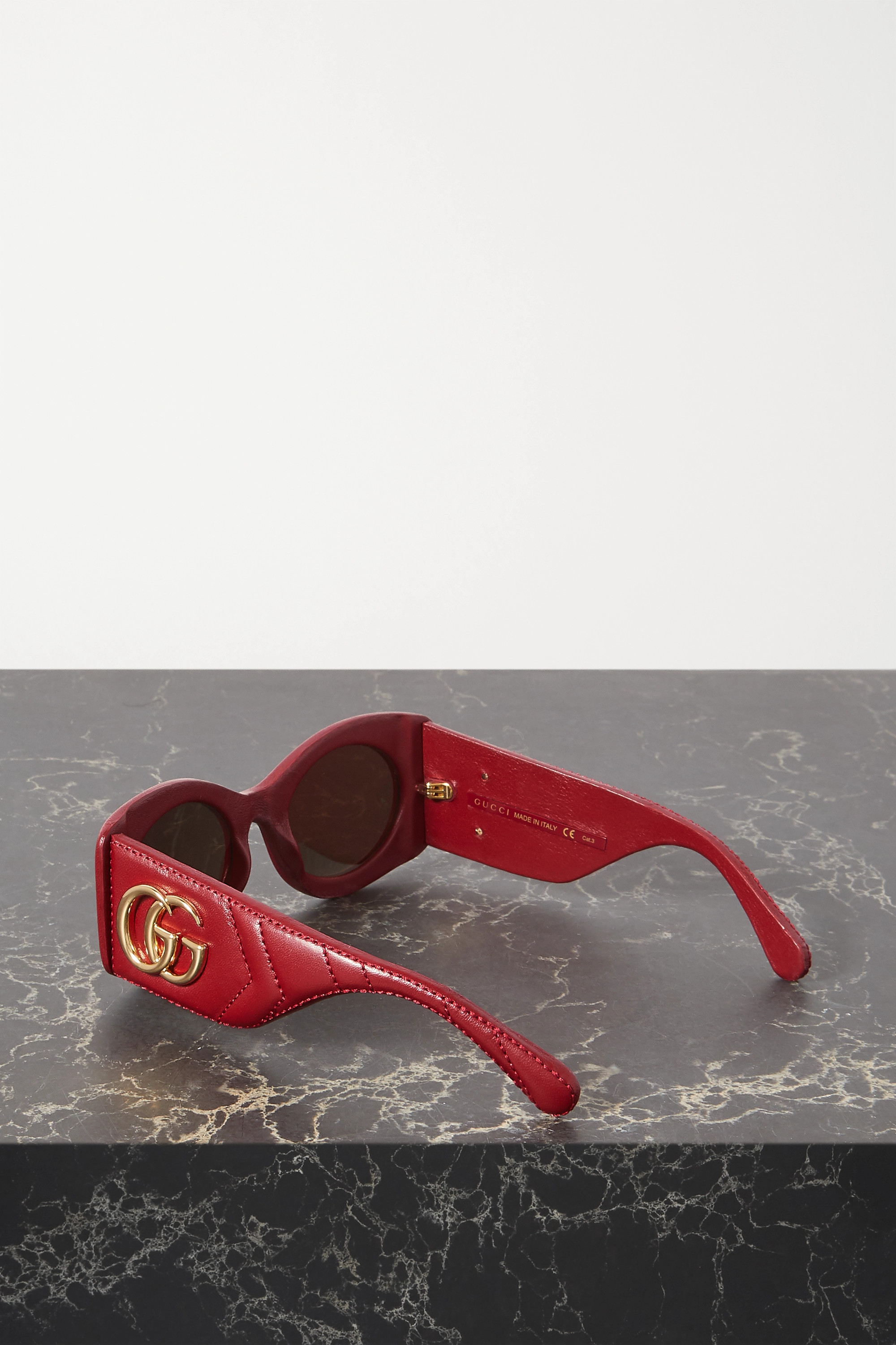 GUCCI Square-frame embellished quilted leather sunglasses