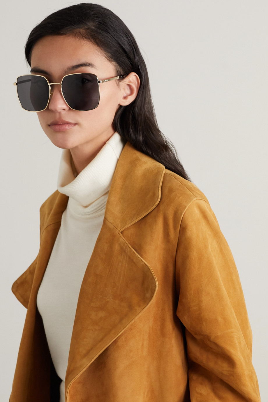 Gucci Oversized square-frame gold-tone and acetate sunglasses