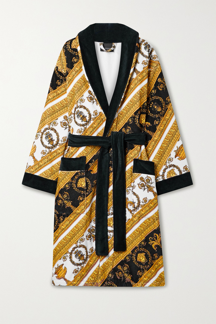 VERSACE Printed cotton-terry robe