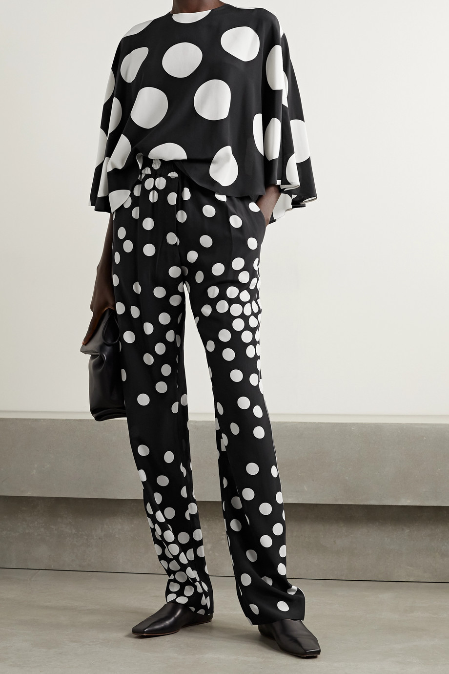VALENTINO Polka-dot silk-georgette straight-leg pants