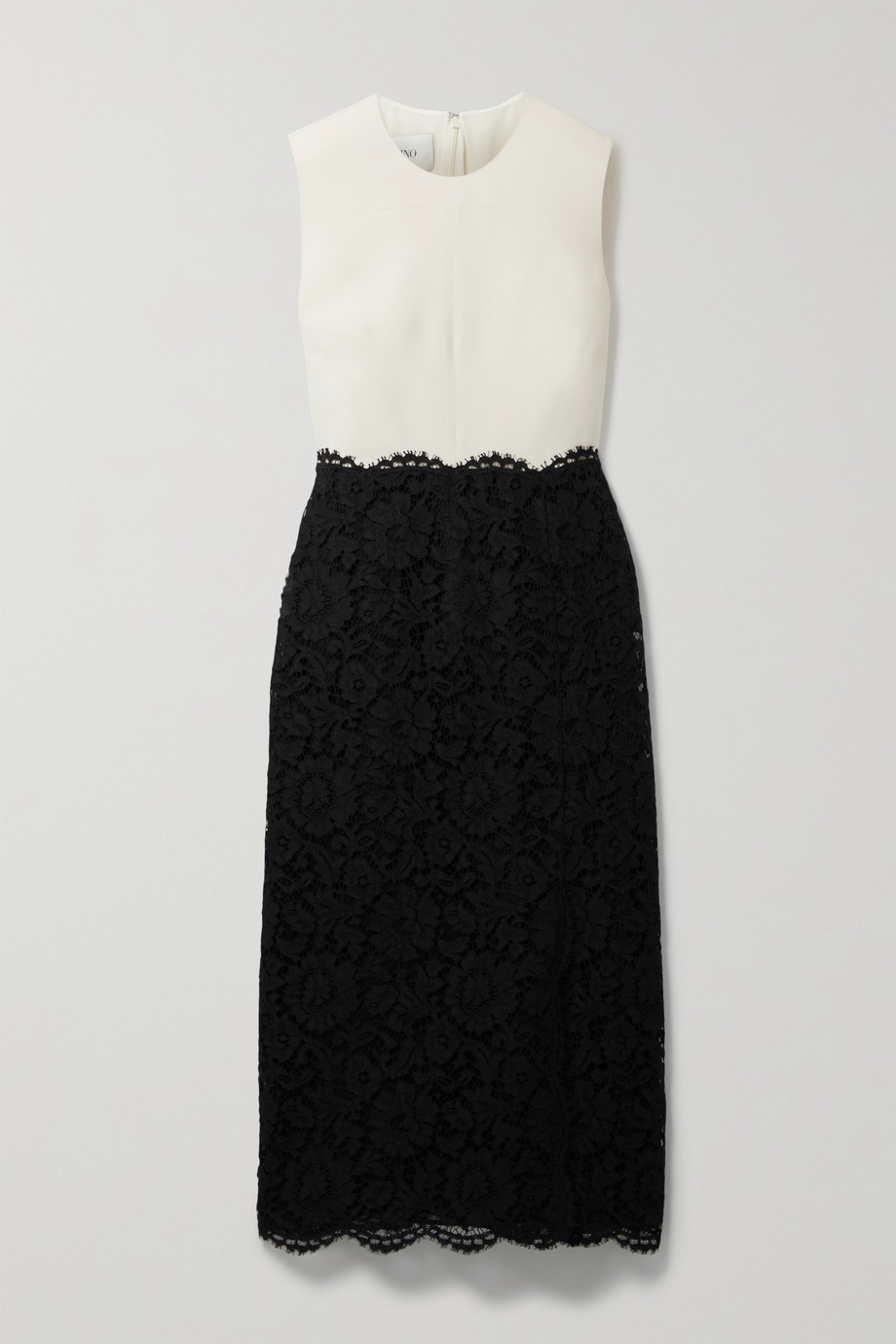 VALENTINO Scalloped corded lace and wool and silk-blend midi dress