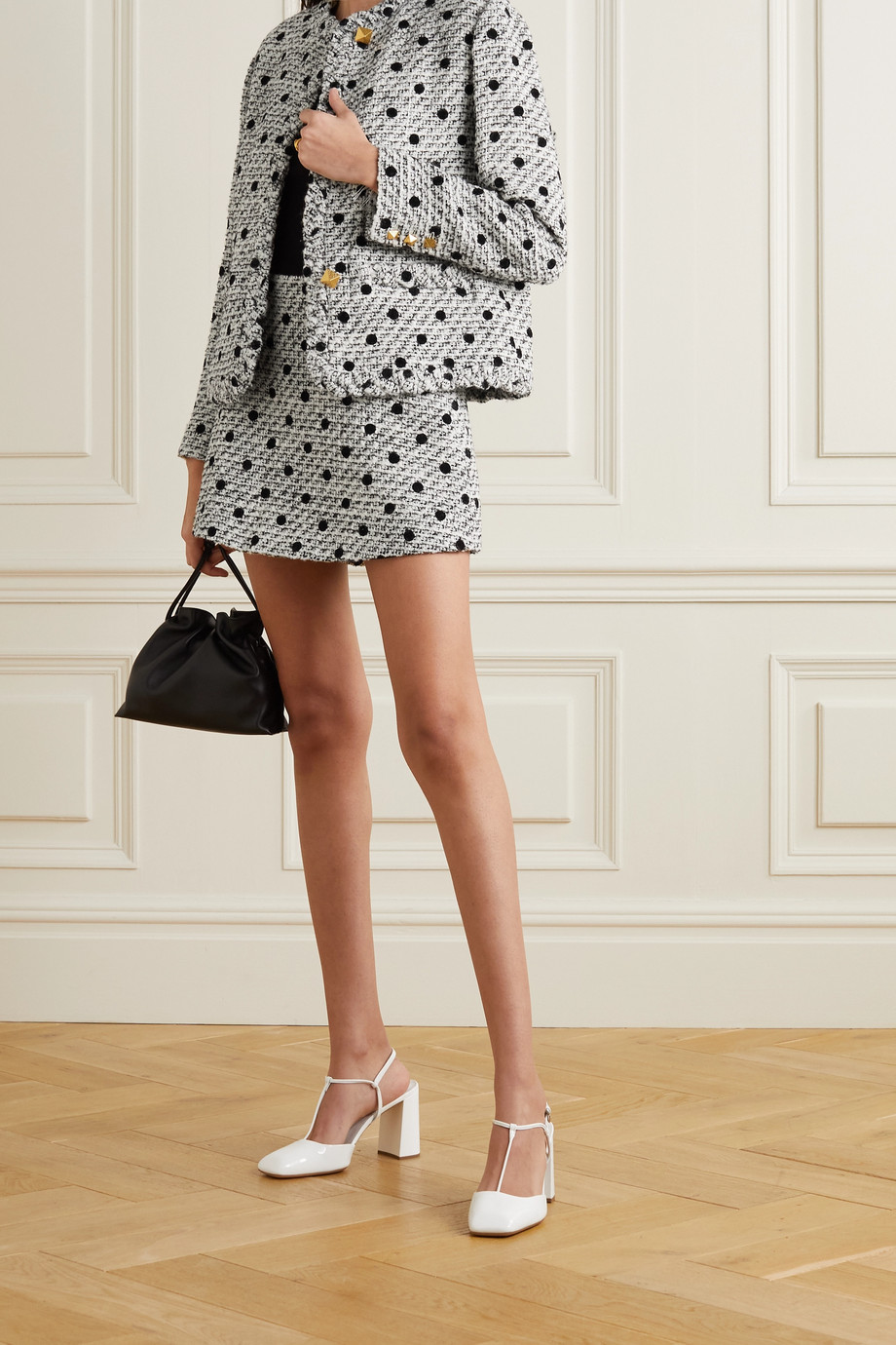 VALENTINO Polka-dot flocked wool-blend tweed jacket