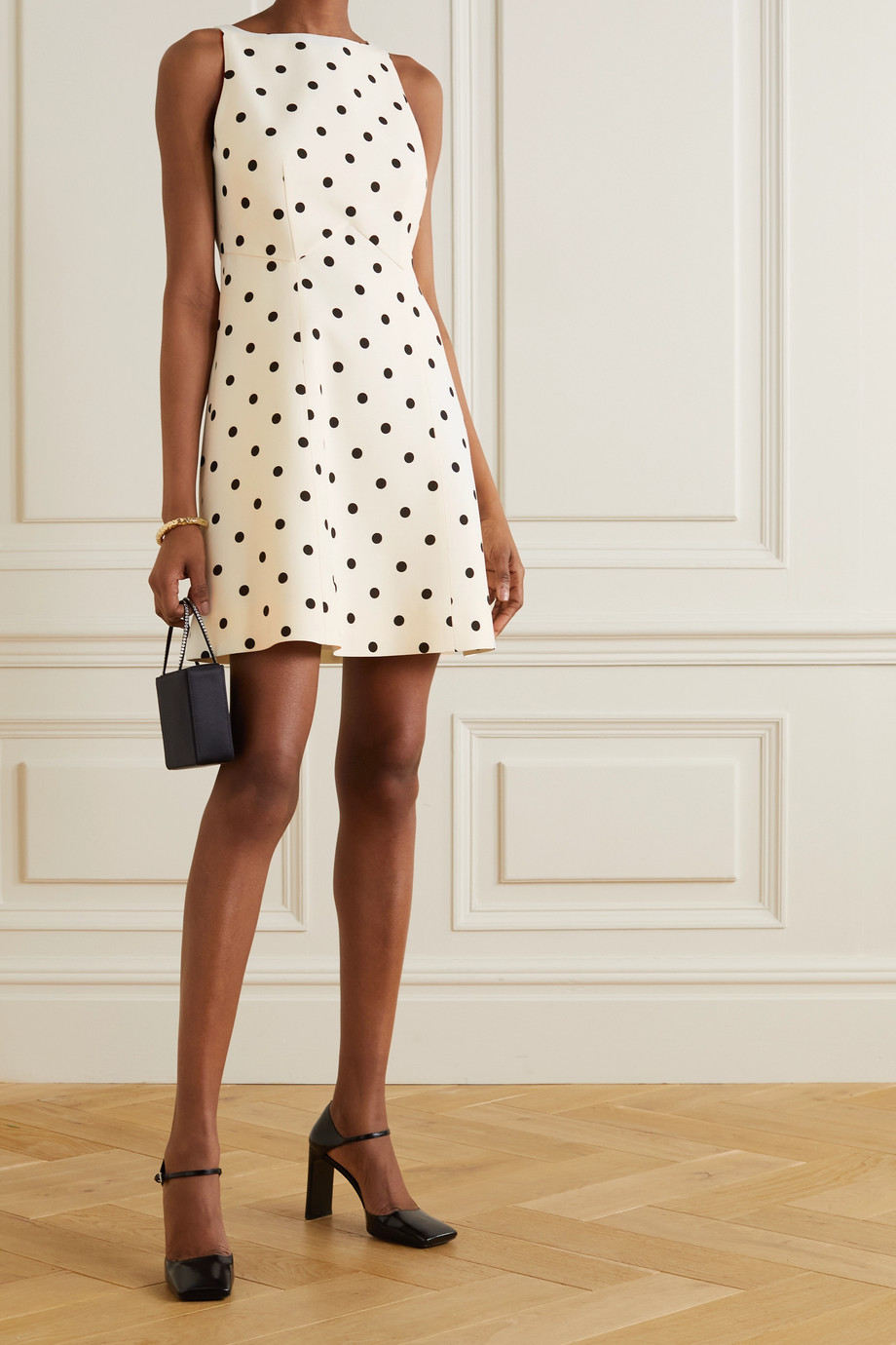 VALENTINO Polka-dot wool and silk-blend crepe mini dress