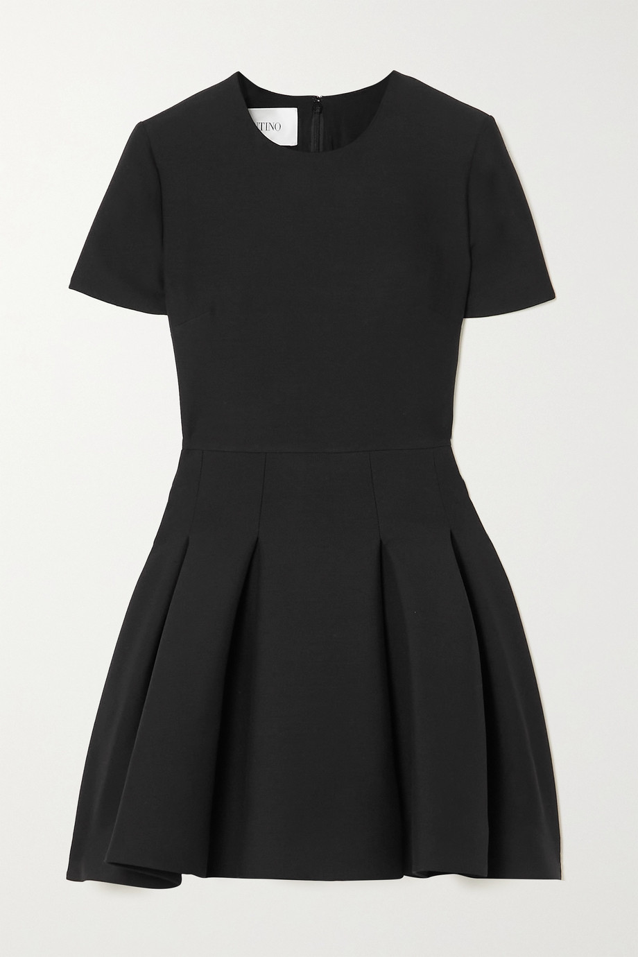 VALENTINO Pleated wool and silk-blend crepe mini dress