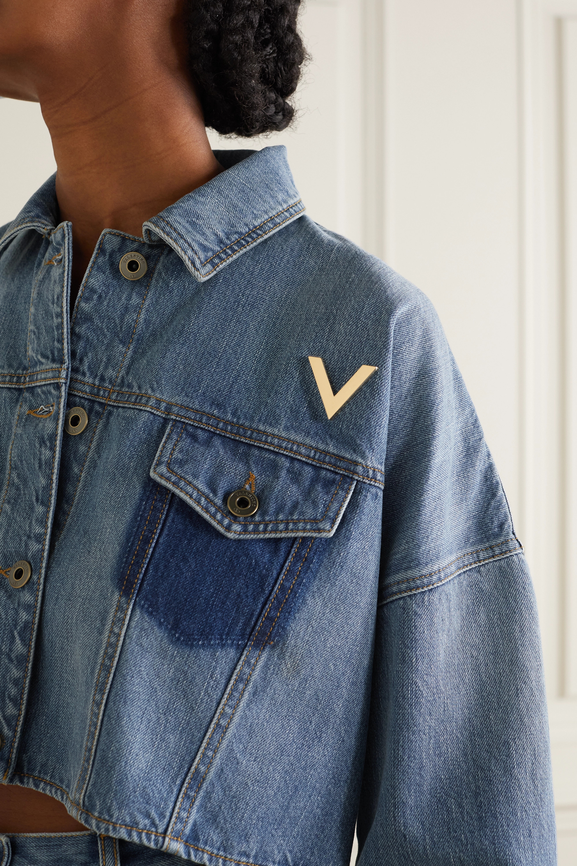 VALENTINO Embellished cropped denim jacket