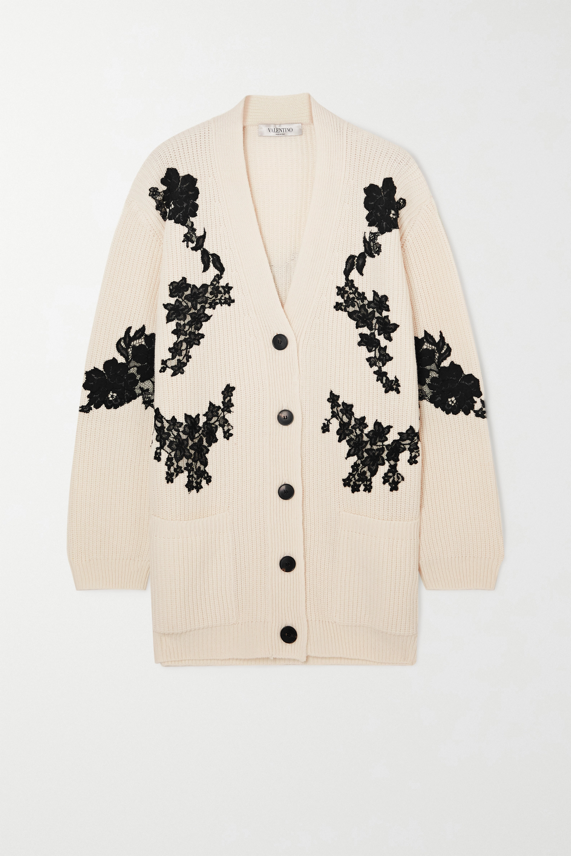VALENTINO Lace-paneled ribbed wool and cashmere-blend cardigan