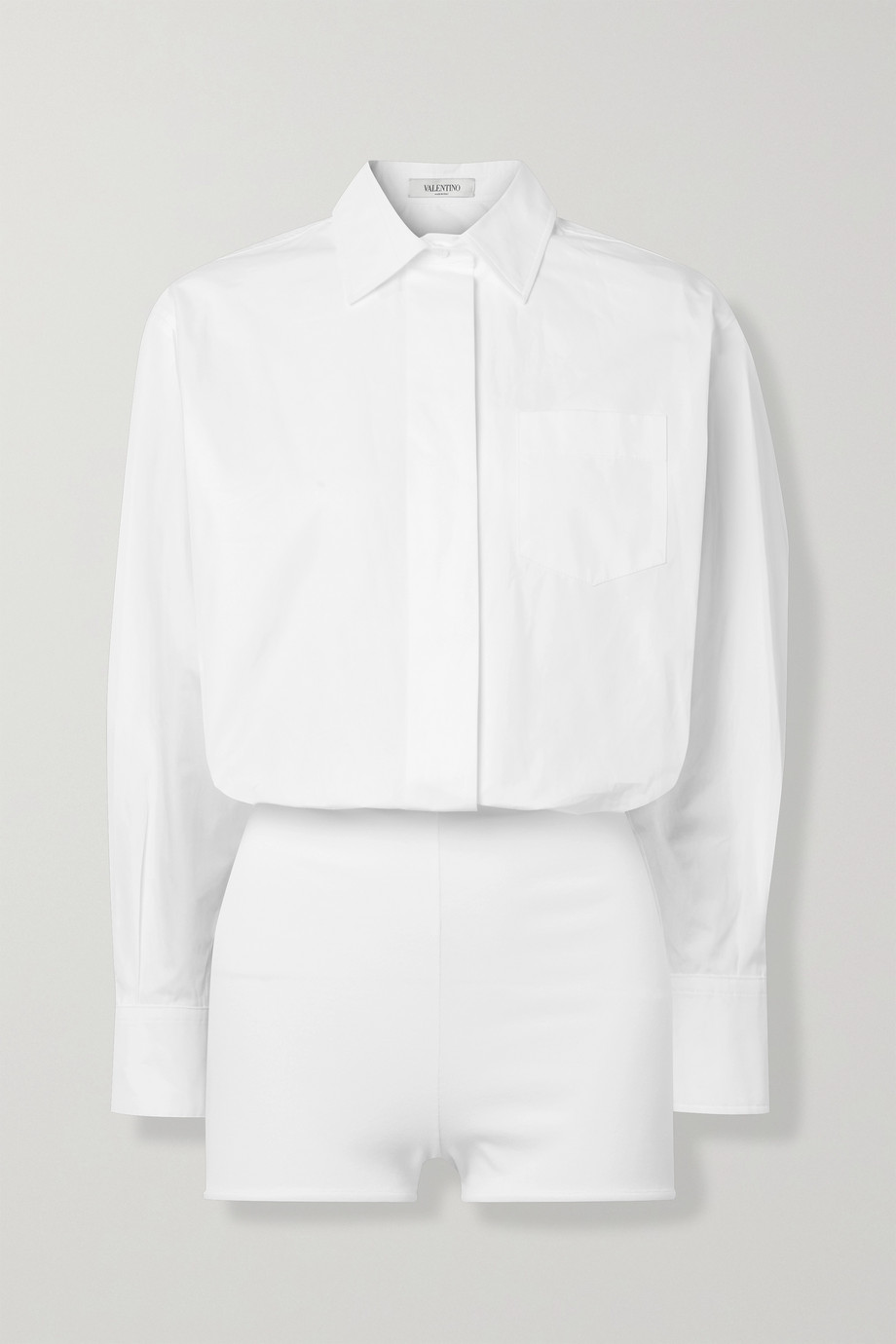 VALENTINO Cotton-poplin and jersey bodysuit