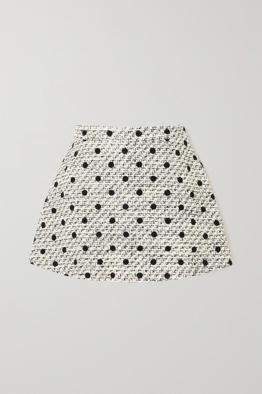 VALENTINO Layered polka-dot wool-blend tweed shorts