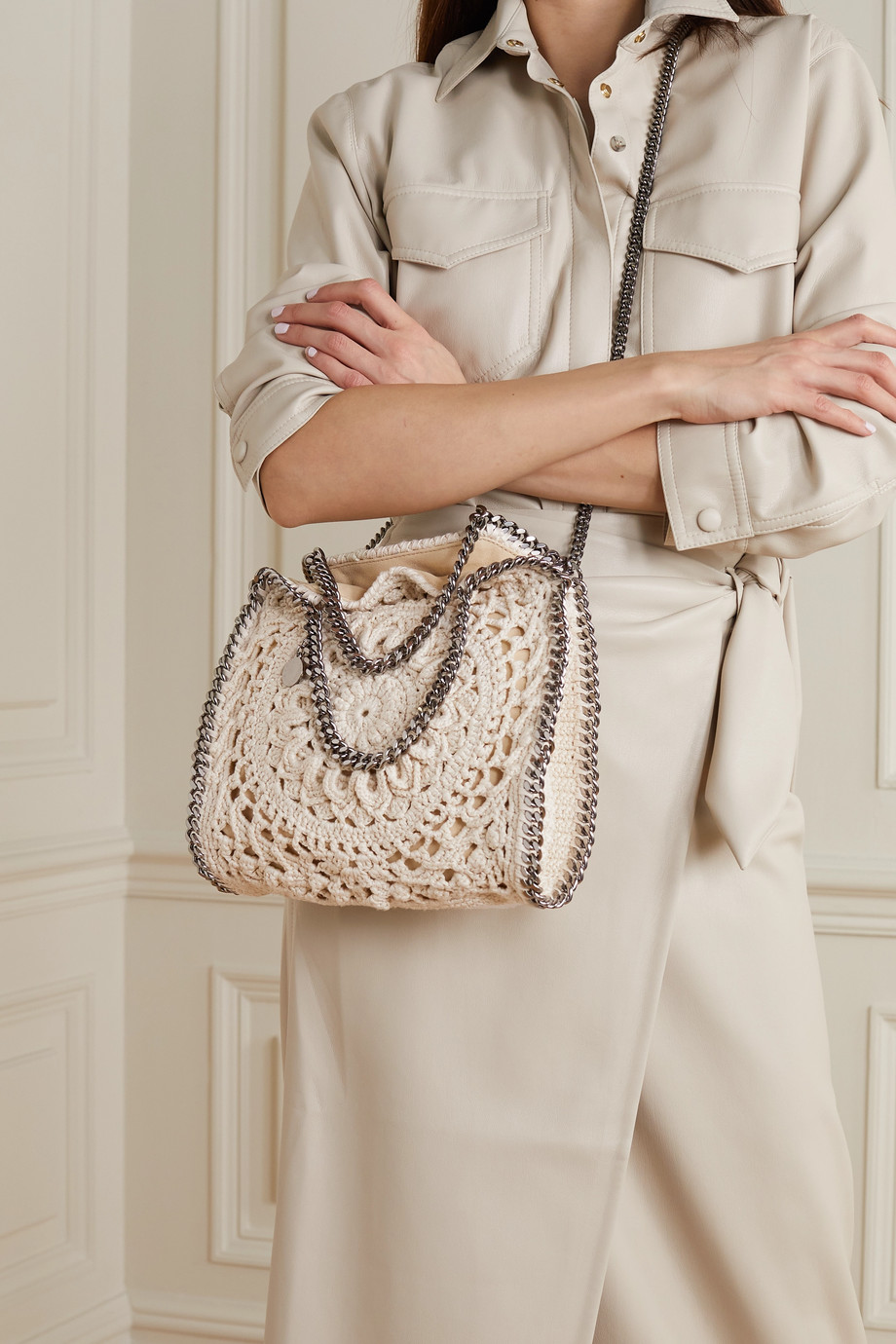 STELLA MCCARTNEY Falabella mini crochet-knit tote