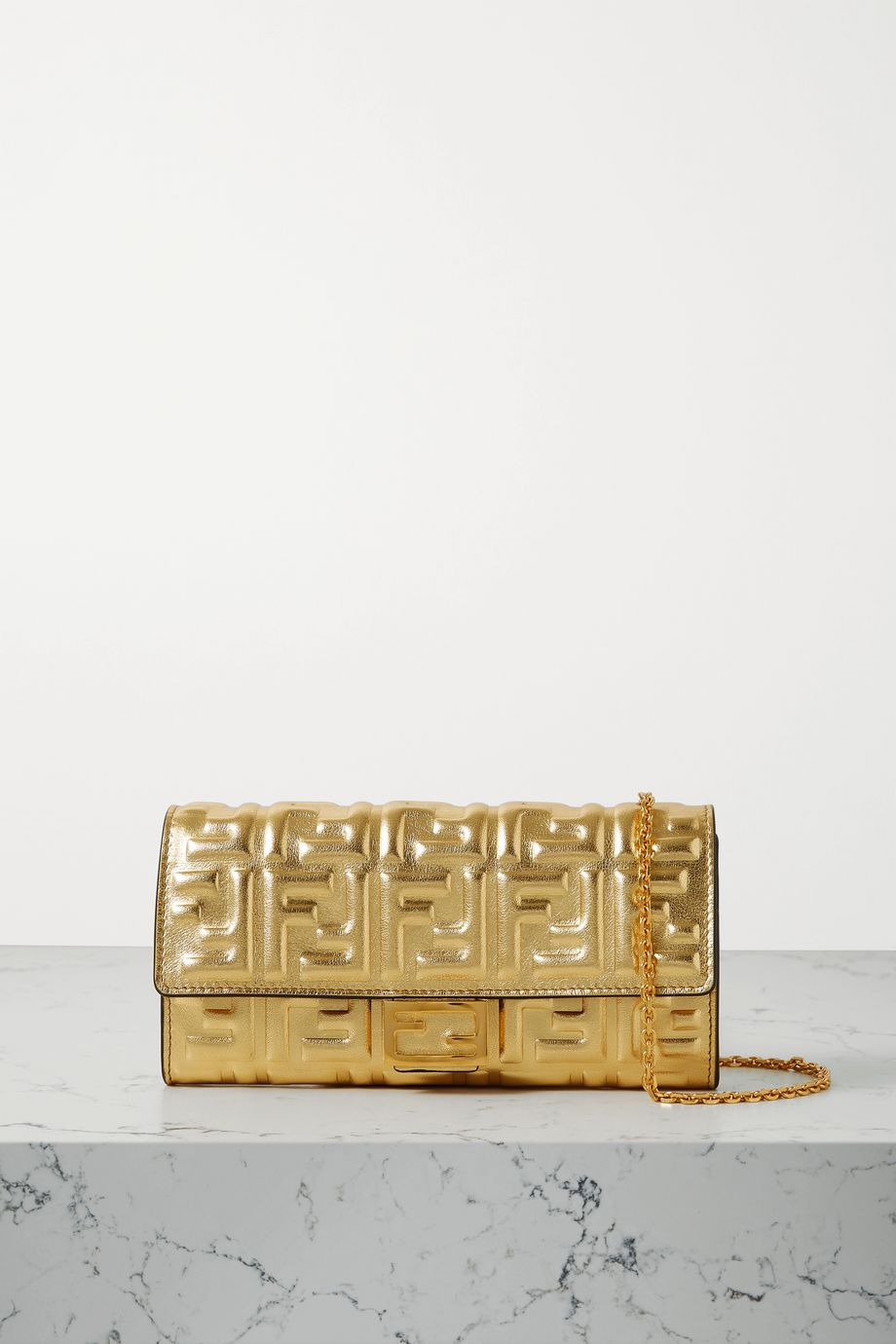 FENDI Baguette embossed metallic leather clutch
