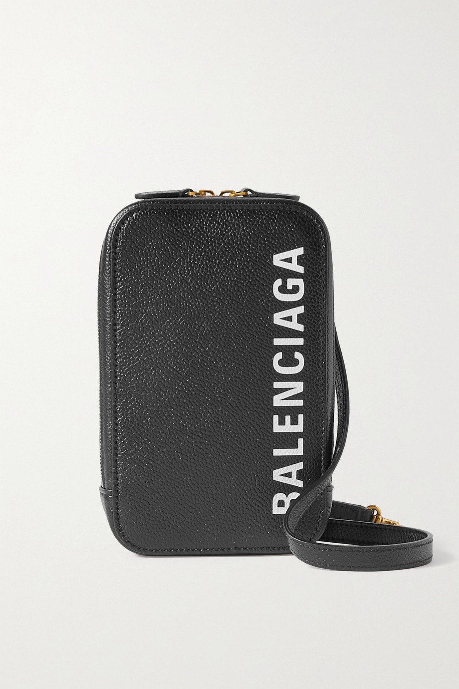 BALENCIAGA Cash textured-leather phone case