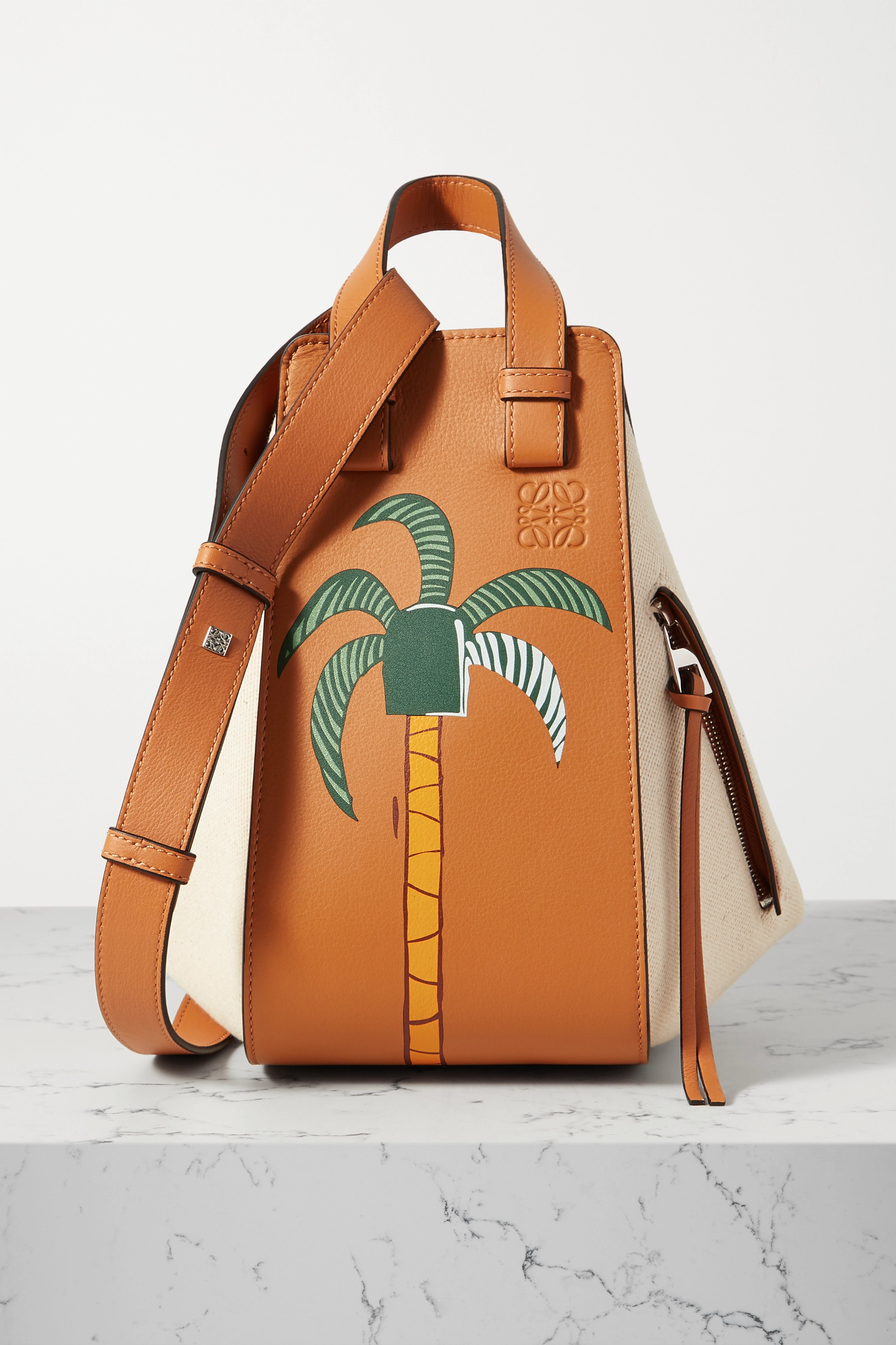 LOEWE + Ken Price La Palme Hammock small paneled leather and canvas tote