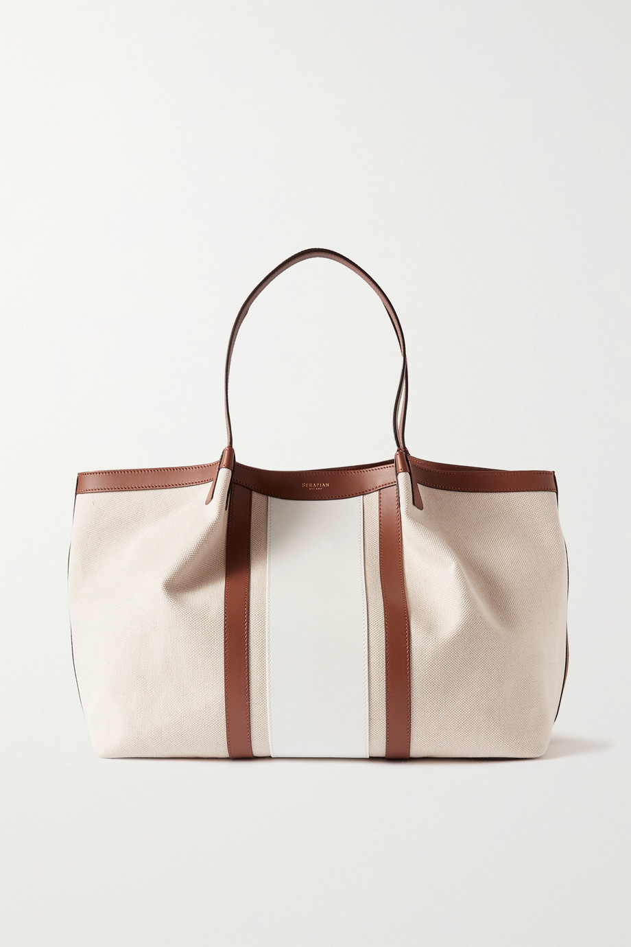 SERAPIAN Secret large canvas and leather tote