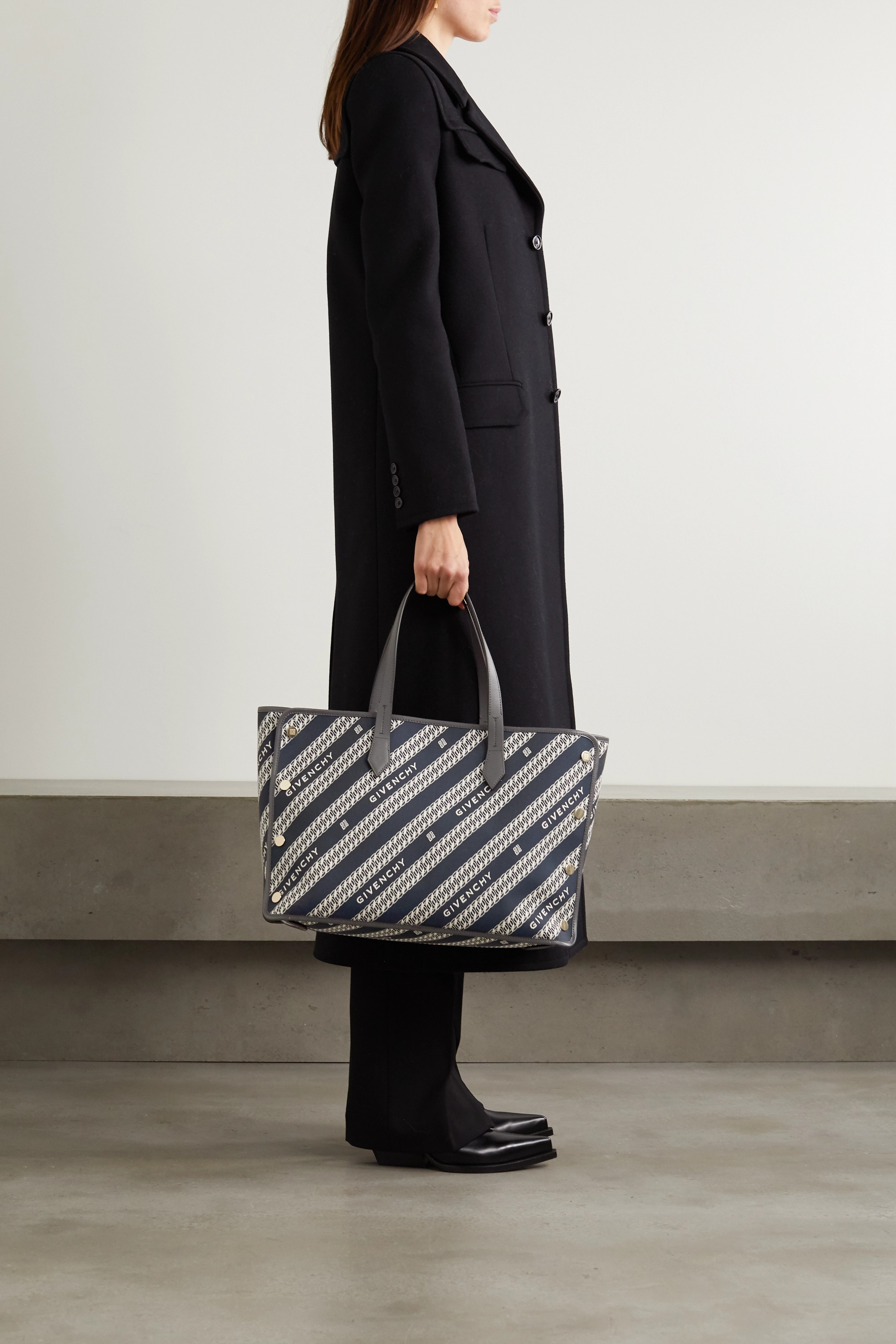 GIVENCHY Bond medium leather-trimmed canvas-jacquard tote