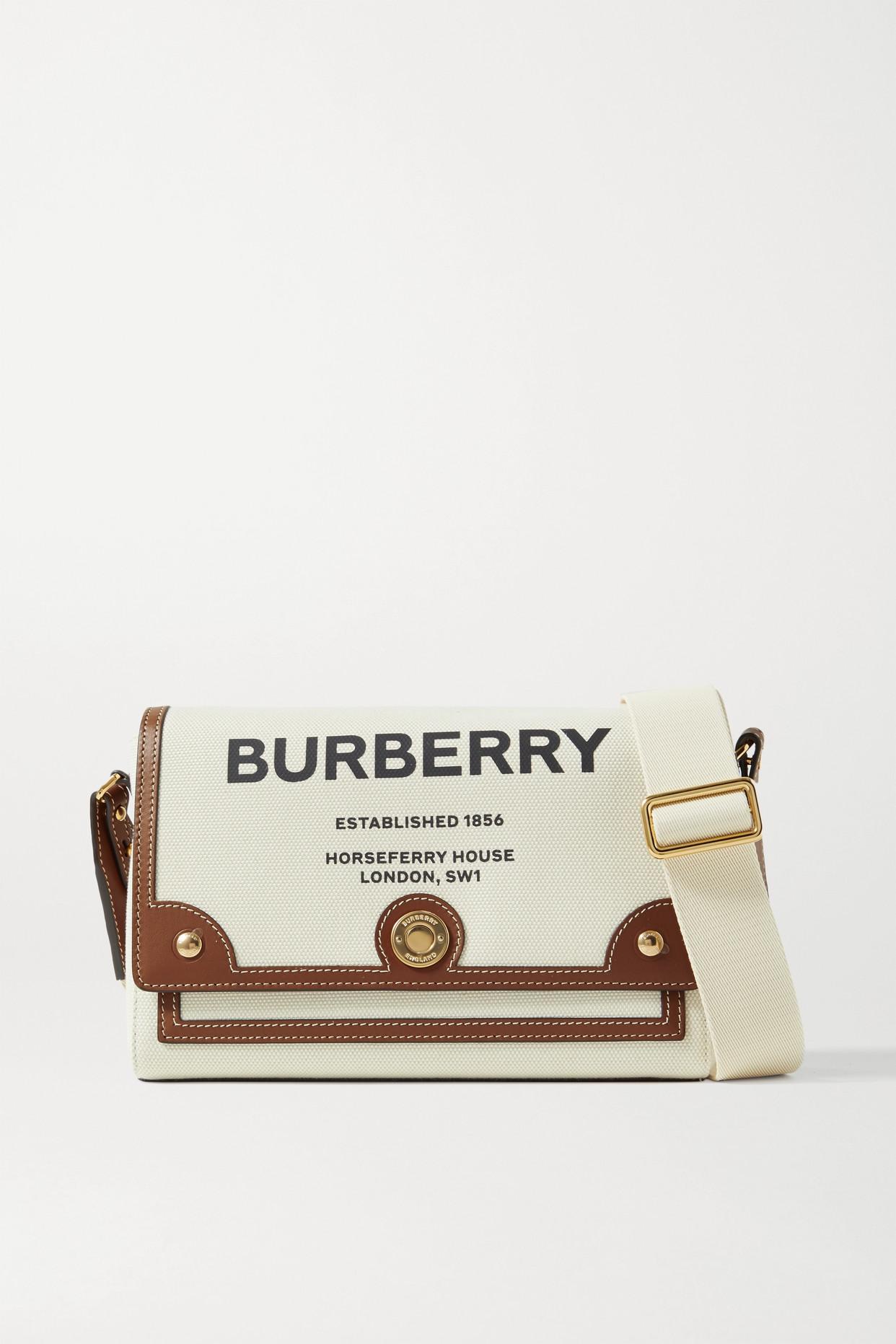 BURBERRY - Leather-trimmed Printed Canvas Shoulder Bag - Ecru - one size