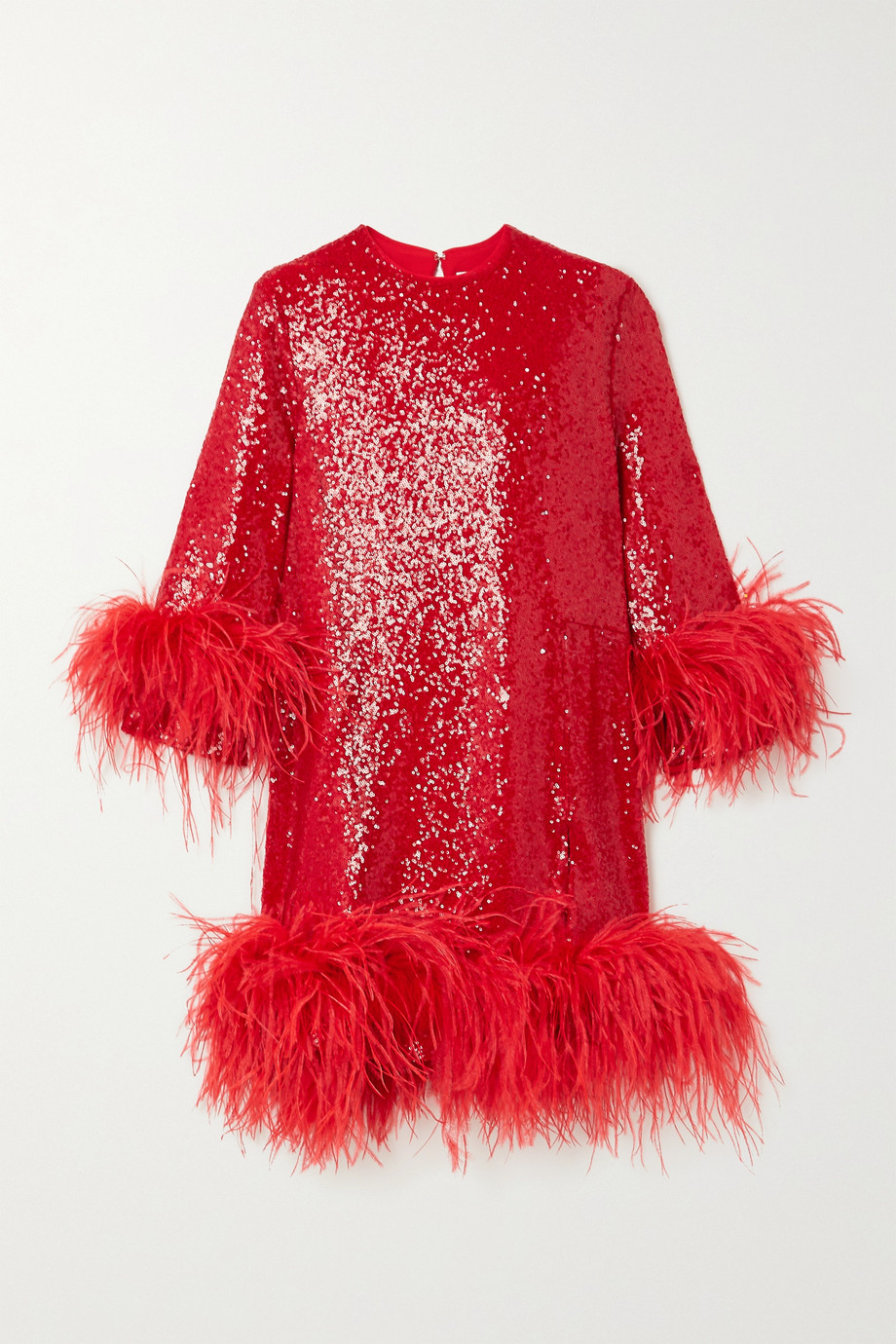 16ARLINGTON Billie feather-trimmed sequined crepe mini dress