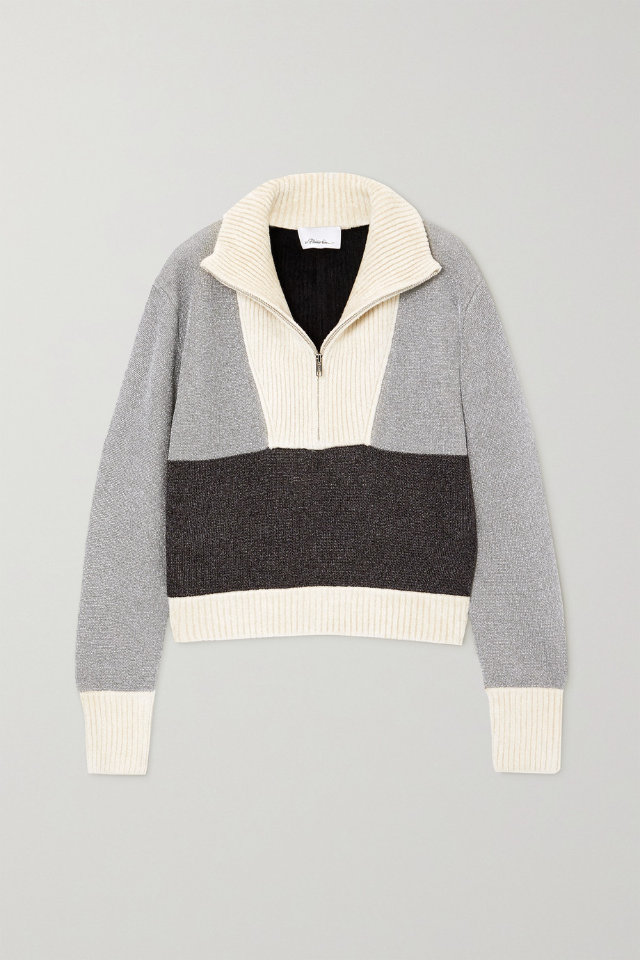 3.1 PHILLIP LIM Cropped color-block Lurex and ribbed chenille sweater