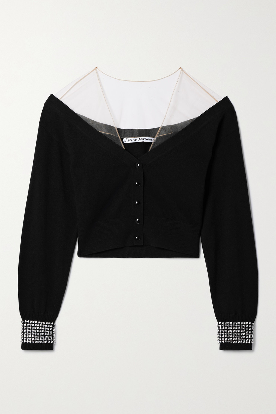 ALEXANDER WANG Cropped crystal-embellished tulle-trimmed wool-blend cardigan