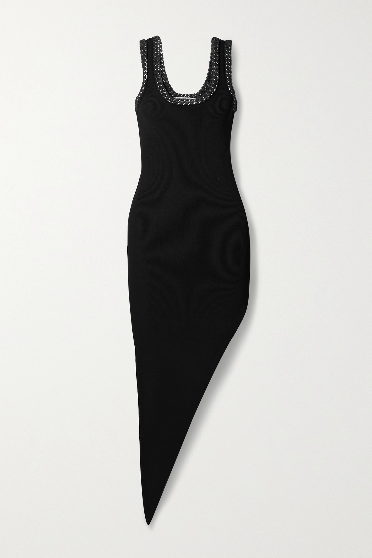ALEXANDER WANG - Asymmetric Chain-embellished Mesh-trimmed Stretch-knit Dress - Black - x small
