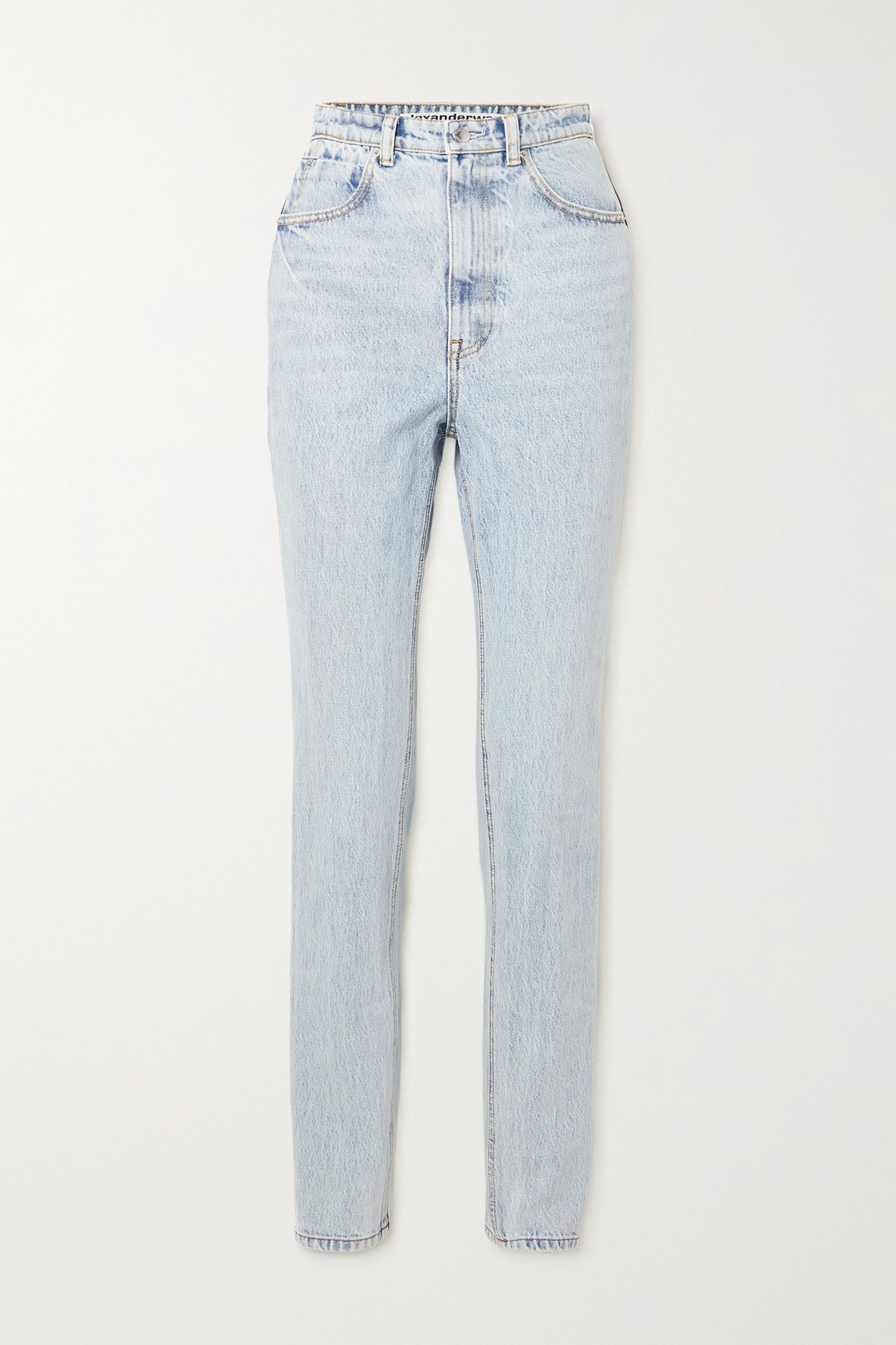 ALEXANDER WANG - Satin-trimmed High-rise Tapered Jeans - Blue - 29