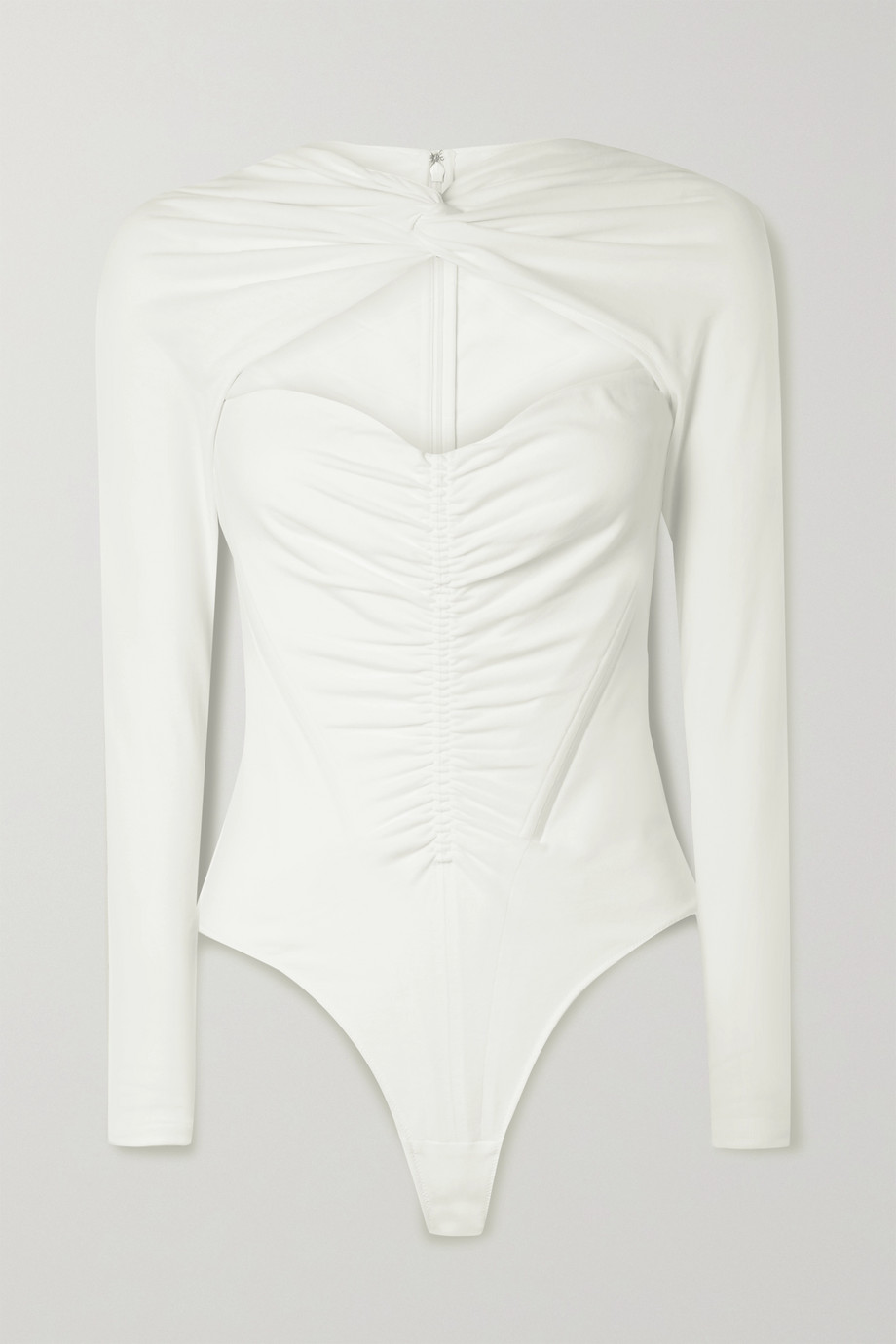 ALEXANDER WANG Ruched cutout cotton-blend jersey thong bodysuit