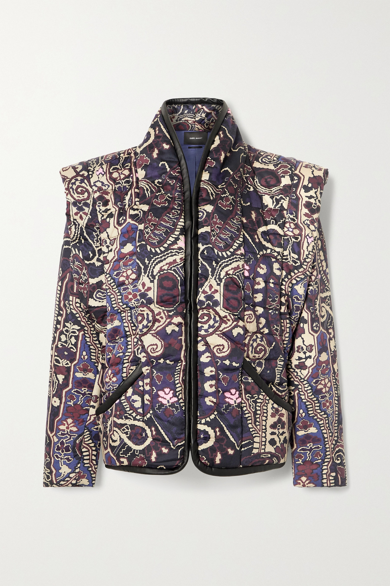 ISABEL MARANT - Janissa Convertible Faux Leather-trimmed Floral-print Cotton Jacket - Blue - FR36