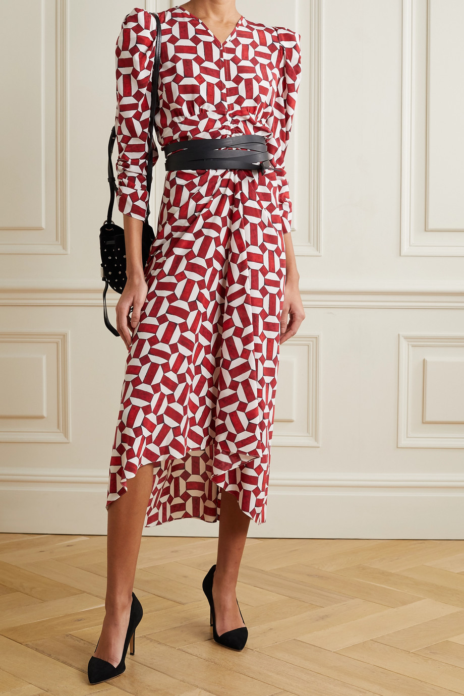 ISABEL MARANT Albi ruched printed silk-blend dress
