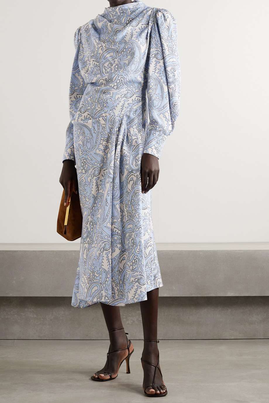 ISABEL MARANT Berni draped printed Lyocell-twill midi dress
