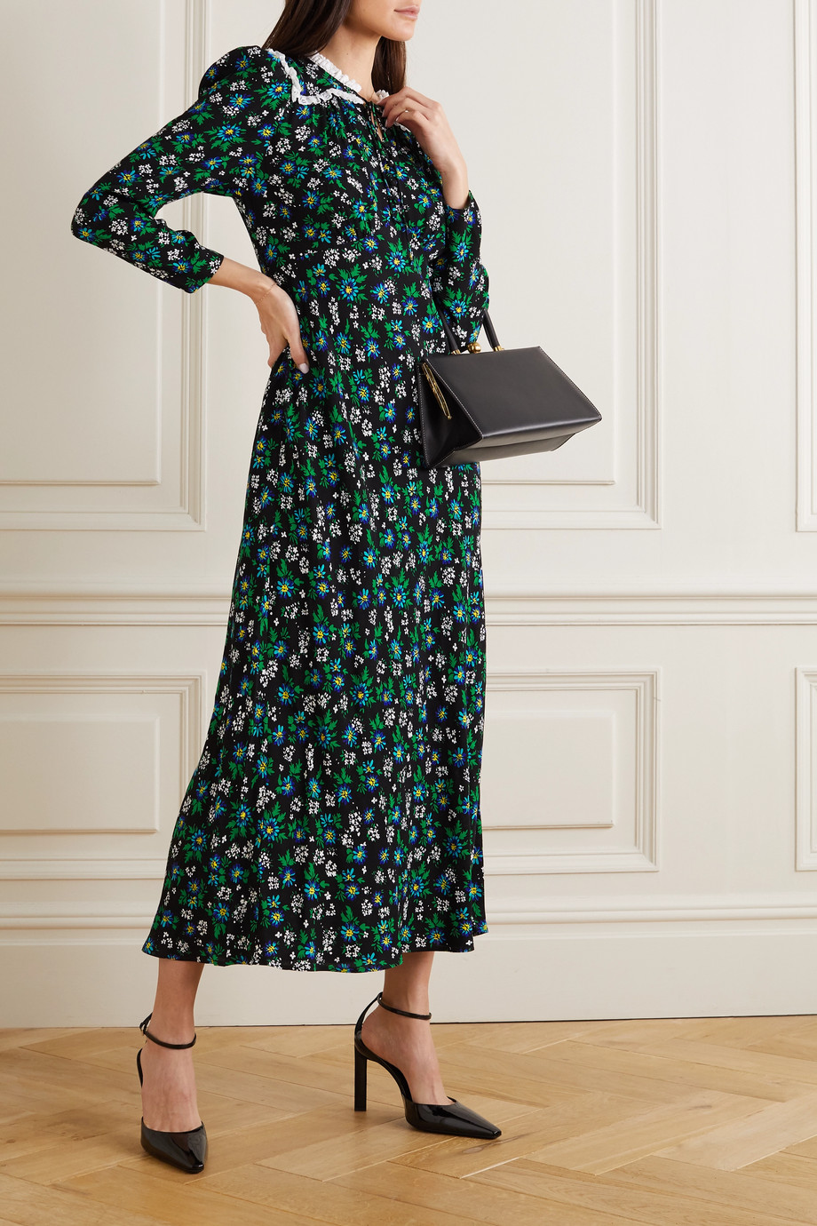 RIXO Ada lace-trimmed floral-print crepe midi dress