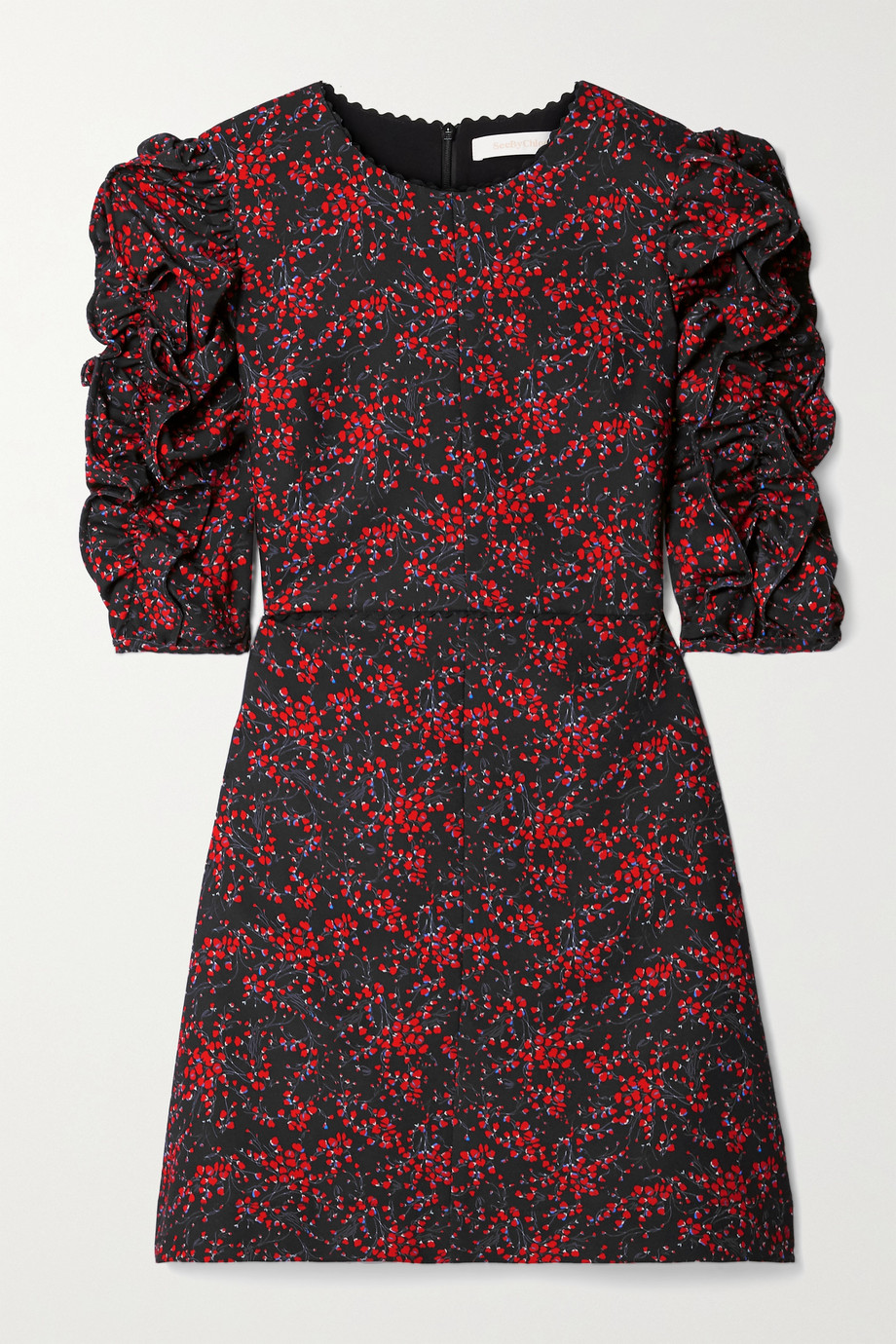 SEE BY CHLOÉ Ruched floral-print crepe mini dress