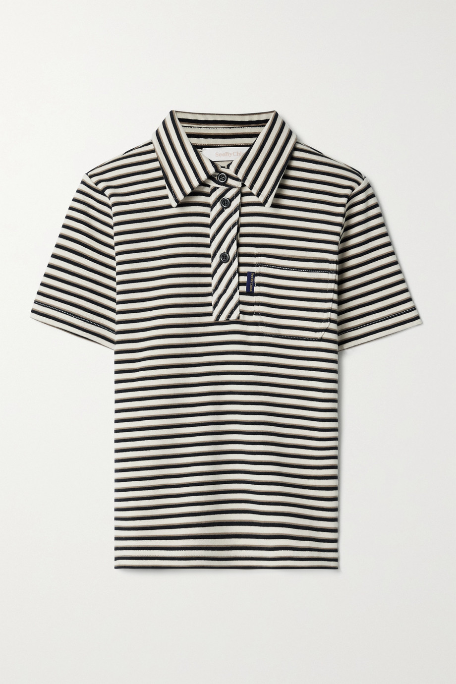 SEE BY CHLOÉ Striped ribbed cotton polo shirt