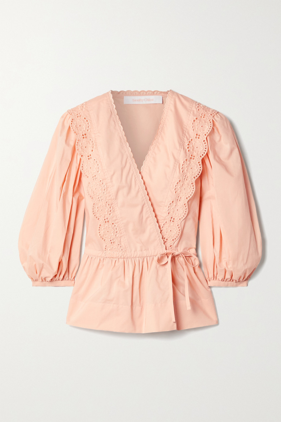 SEE BY CHLOÉ Broderie anglaise-trimmed cotton-poplin wrap blouse