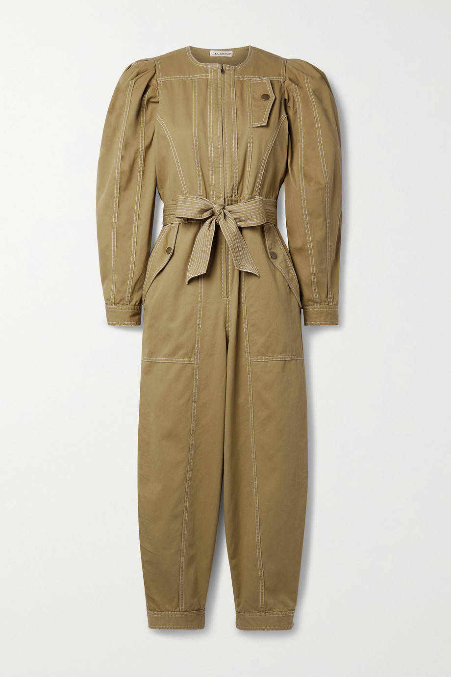 ULLA JOHNSON Leo belted cotton-twill jumpsuit