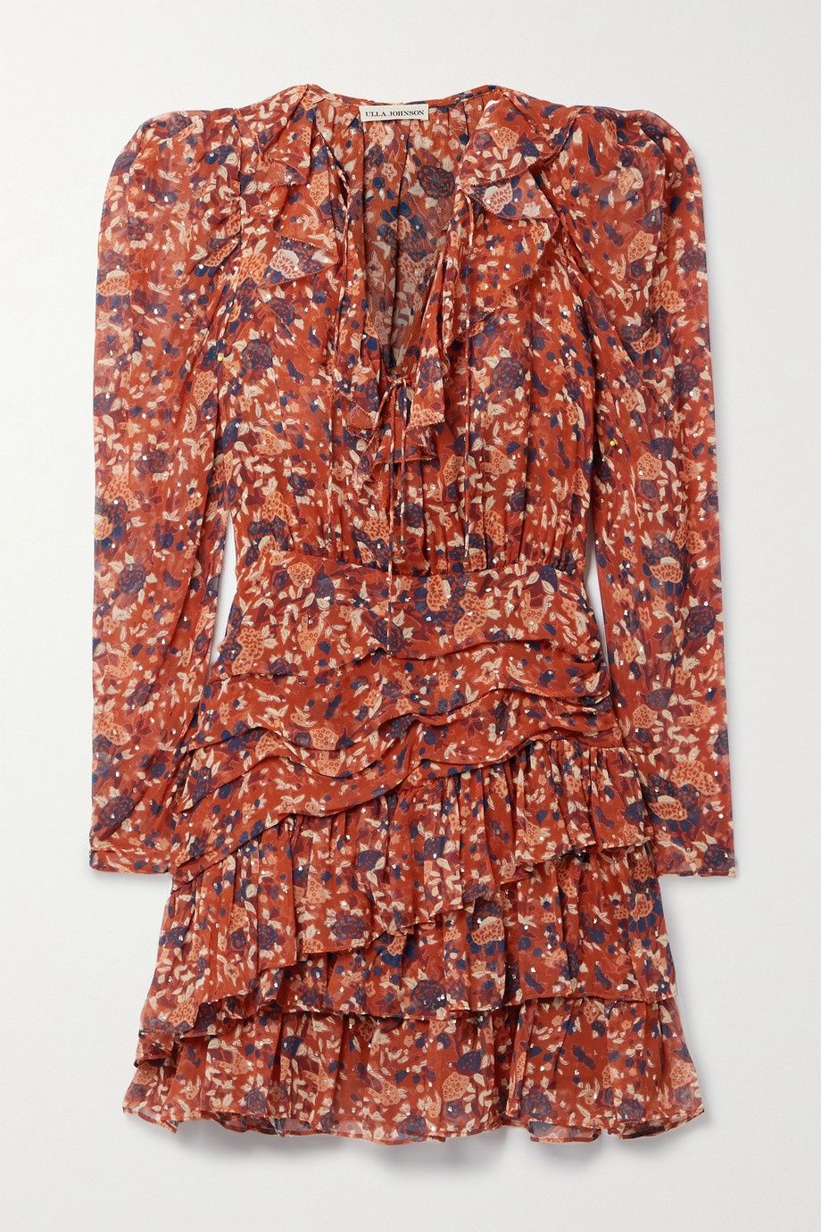 ULLA JOHNSON Cecily floral-print fil coupé silk and Lurex-blend mini dress