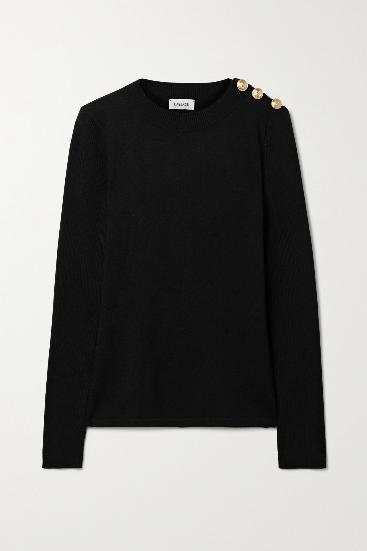 L'AGENCE - Erica Button-embellished Knitted Sweater - Black - x small
