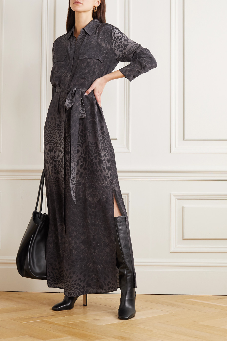 L'AGENCE Cameron belted animal-print silk midi shirt dress