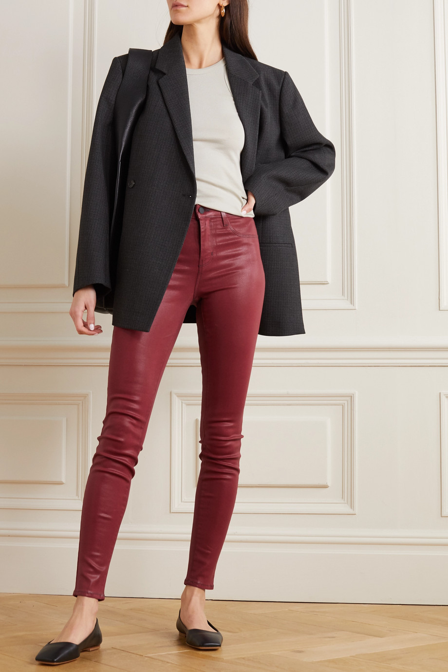 L'AGENCE Marguerite coated high-rise skinny jeans